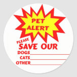 Save Your Pet From A House Fire Round Stickers