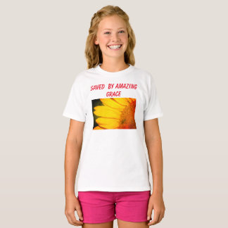 Saved by amazing grace girls t-shirt, sunflower T-Shirt
