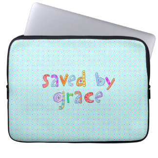 Saved By Grace Cute Christian Artsy Polkadots Laptop Computer Sleeves