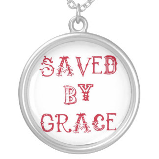 Saved by grace round pendant necklace