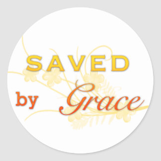 Saved By Grace Round Sticker