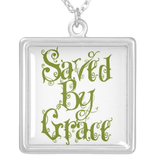 Saved by grace silver plated necklace