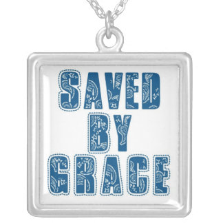 Saved By Grace Square Pendant Necklace