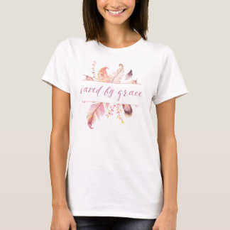 Saved by Grace with pink watercolor feathers shirt
