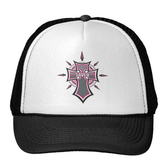 SAVED Christian Pink Cross Trucker Hat