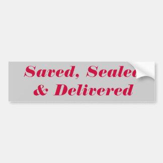 Saved, Sealed & Delivered Car Bumper Sticker