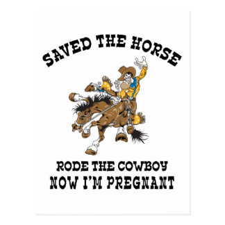 Saved The Horse Rode The Cowboy Pregnant Postcard