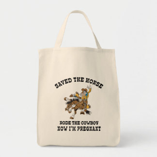 Saved The Horse Rode The Cowboy Pregnant Tote Bag
