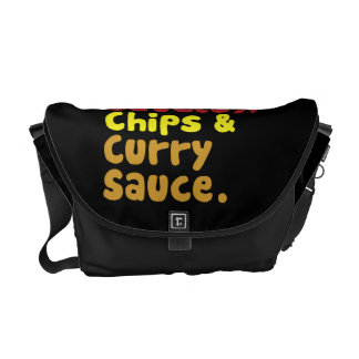 Saveloy, Chips & Curry Sauce. Courier Bag