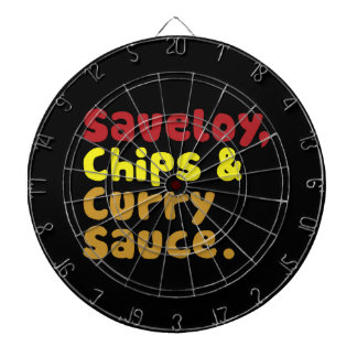 Saveloy, Chips & Curry Sauce. Dart Board