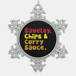 Saveloy, Chips & Curry Sauce. Snowflake Pewter Christmas Ornament