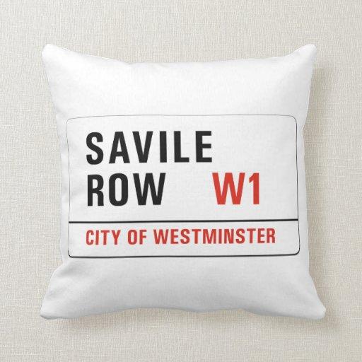 Savile Row, London Street Sign Throw Pillows