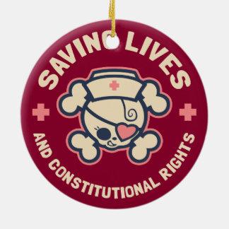 Saving Lives & Rights Ceramic Ornament