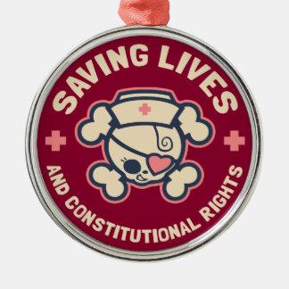 Saving Lives & Rights Metal Ornament