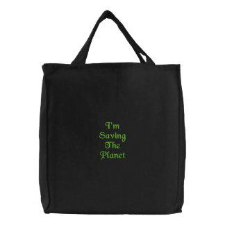 Saving Planet Embroidered Bag