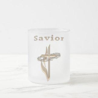 Savior gold cross frosted glass coffee mug