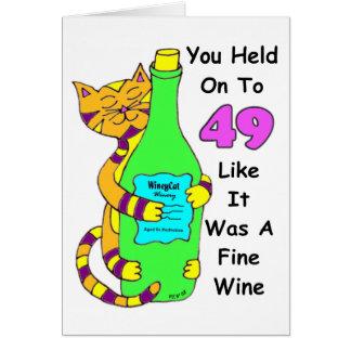 Savor 50 Winey Cat Birthday Card