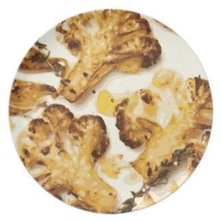 Savory Broccoli and Cauliflower Saute Melamine Plate