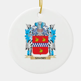Savory Coat of Arms - Family Crest Double-Sided Ceramic Round Christmas Ornament