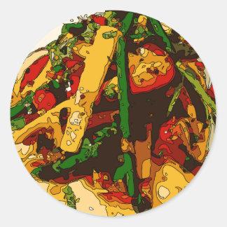 Savory Green Pea and Tomato Veggie Saute Dish Classic Round Sticker