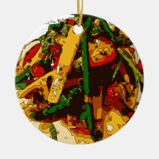 Savory Green Pea and Tomato Veggie Saute Dish Double-Sided Ceramic Round Christmas Ornament
