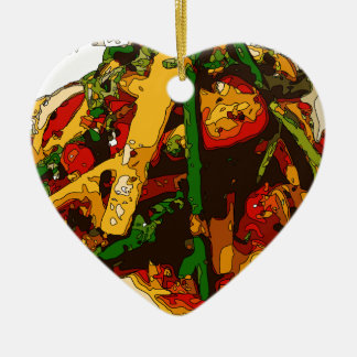 Savory Green Pea and Tomato Veggie Saute Dish Double-Sided Heart Ceramic Christmas Ornament