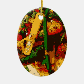 Savory Green Pea and Tomato Veggie Saute Dish Double-Sided Oval Ceramic Christmas Ornament