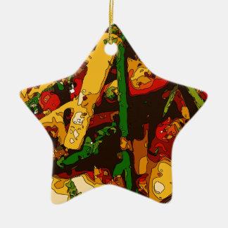 Savory Green Pea and Tomato Veggie Saute Dish Double-Sided Star Ceramic Christmas Ornament