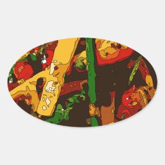 Savory Green Pea and Tomato Veggie Saute Dish Oval Sticker