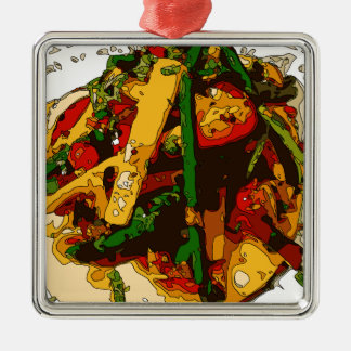 Savory Green Pea and Tomato Veggie Saute Dish Square Metal Christmas Ornament