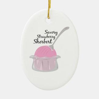 Savory Sherbert Double-Sided Oval Ceramic Christmas Ornament