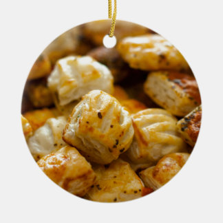 Savoury Pastries Selection Double-Sided Ceramic Round Christmas Ornament
