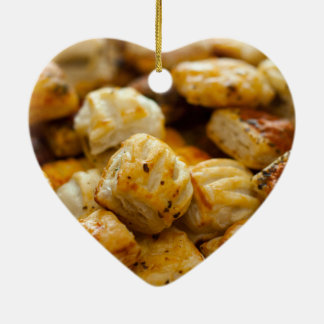 Savoury Pastries Selection Double-Sided Heart Ceramic Christmas Ornament