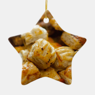 Savoury Pastries Selection Double-Sided Star Ceramic Christmas Ornament