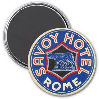 Savoy Hotel, Rome, Italy Vintage 3 Inch Round Magnet