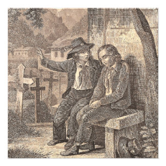Savoy Peasant Boys French Alpine Antique Print Personalized Invites