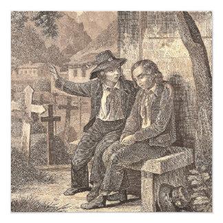 Savoy Peasant Boys French Alpine Antique Print Invitation