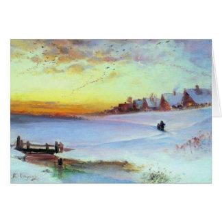 Savrason - paisaje del invierno (deshielo) tarjeta de felicitación