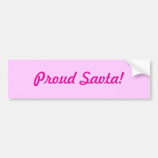¡Savta orgulloso! Etiqueta De Parachoque