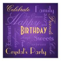 Savvy Type Birthday Party Purple Invitation