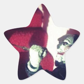 SAW Jigsaw Creepy Eerie Billy The Doll Star Stickers