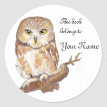 Saw Whet Owl Bookplate, Label Classic Round Sticker