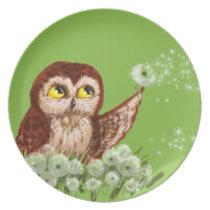 Saw-whet owl dandelion melamine plate