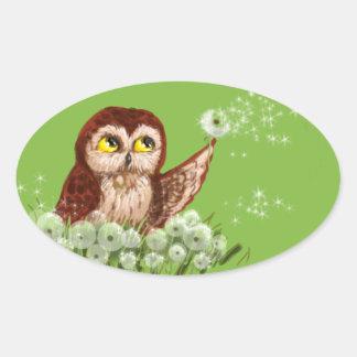 Saw-whet owl dandelion oval sticker