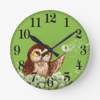 Saw-whet owl dandelion round clock