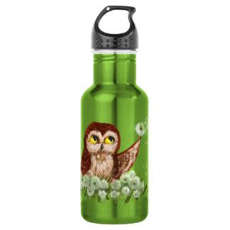 Saw-whet owl dandelion water bottle