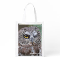 Saw-whet Owl Reusable Grocery Bag