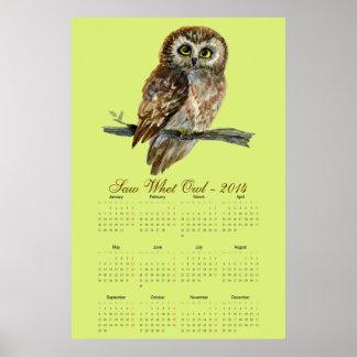 Saw Whet owl watercolor calendar 2014 Posters