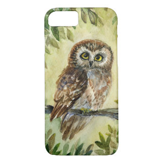 Saw Whet Owl watercolor painting iPhone 8/7 Case