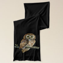 Saw Whet owl watercolor painting Scarf